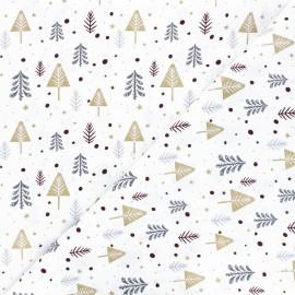 Tissu coton Sapins enneigés - blanc x 10cm