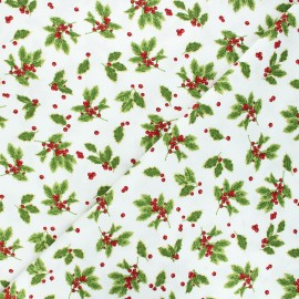 Tissu coton Birds and twigs - Tossed holly leaves - écru x 10cm