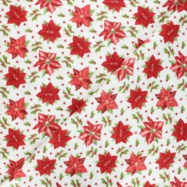 Cotton fabric Birds and twigs - raw Tossed poinsettias x 10cm