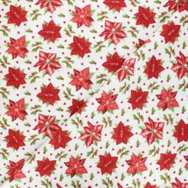 Tissu coton Birds and twigs - Tossed poinsettias - écru x 10cm