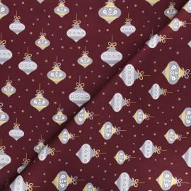 Tissu coton Noël scandinave - bordeaux x 10cm