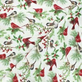 Cotton fabric Holiday botanical - raw Birds and twigs x 10cm