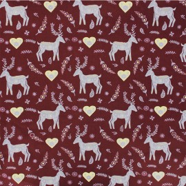 Cotton fabric - burgundy Forêt enchantée x 10cm