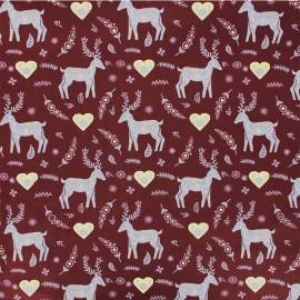 Tissu coton Forêt enchantée - bordeaux x 10cm
