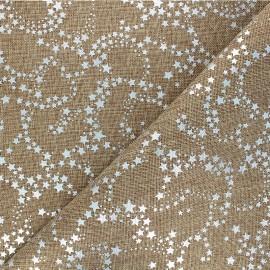 Burlap aspect fabric - silver/natural Constellation x 10cm