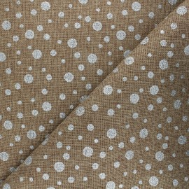 Burlap aspect fabric - silver/natural Pois x 10cm