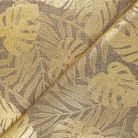 Burlap aspect fabric - golden/natural Feuillage tropical x 10cm