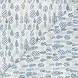Tissu coton Forêt enneigée - blanc x 10cm