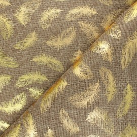 Burlap aspect fabric - golden/natural Plume x 10cm