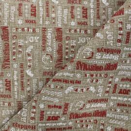 Burlap aspect fabric - natural Le jour de Noël x 10cm