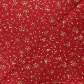 Burlap aspect fabric - red Flocons de neige x 10cm