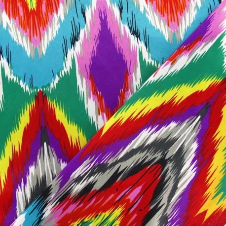 Fabric aspect satiné Graphic Diamond turquoise x 10cm