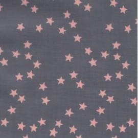 Tissu enduit coton batiste gris nuée d'étoiles roses x 10cm