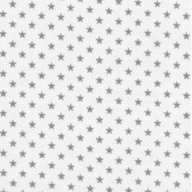 Tissu enduit coton batiste France Duval blanc étoiles argent x 10cm