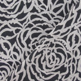 Tissu coton tissé Roses noir x 10cm