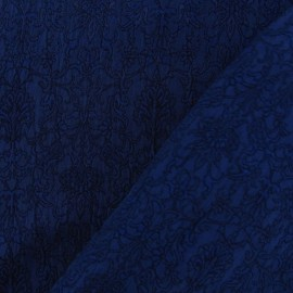 Tissu Damassé Royal marine x 10cm