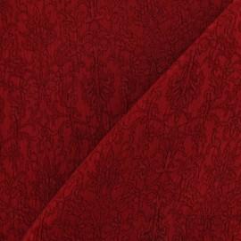 Tissu Damassé Royal rouge carmin x 10cm