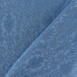 Tissu Damassé Royal bleu acier x 10cm
