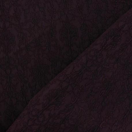 Tissu Damassé Royal encre violette x 10cm