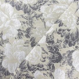Tissu Damassé Rosier de Damas beige x 10cm