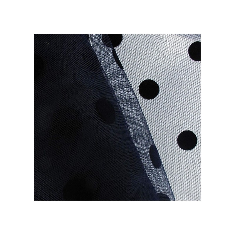 tulle pastilles velours bleu nuit x10cm ma petite mercerie. Black Bedroom Furniture Sets. Home Design Ideas
