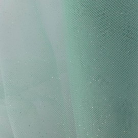Luxury Sequined Tulle - Green Sea x 10cm