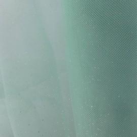Tulle Haute qualité pailleté vert d'eau x10cm