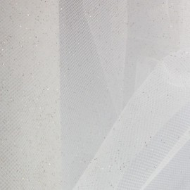 Tulle luxe pailleté blanc or x10cm