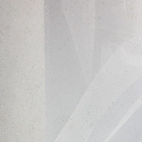 Tulle Haute qualité pailleté blanc or x10cm