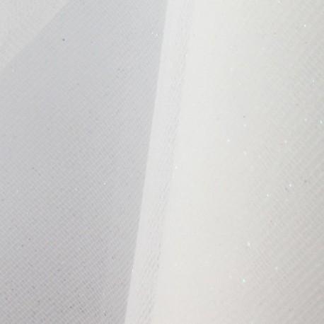 Tulle Haute qualité pailleté blanc irisé x10cm