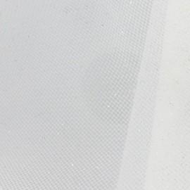 Tulle luxe pailleté blanc argent x10cm