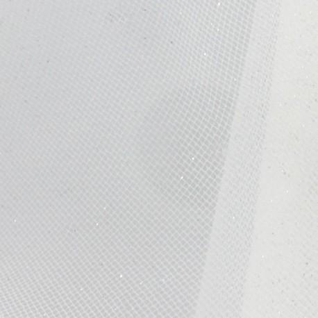 Tulle Haute qualité pailleté blanc argent x10cm