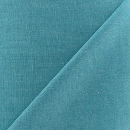 Tissu Chambray bleu canard x 10cm