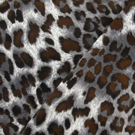 Leopard Satin Fabric - Brown x 10cm