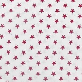 Tissu Etoiles pourpre/blanc x 10cm
