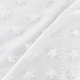 Soft relief minkee velvet Stars fabric - milk white x 10cm
