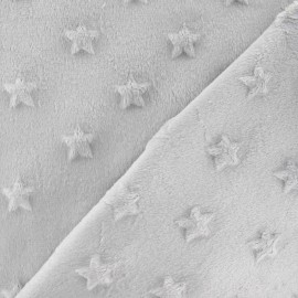 Soft relief minkee velvet Stars fabric - light grey x 10cm