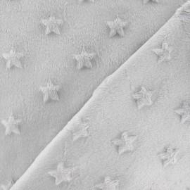 Tissu velours minkee doux relief à étoiles gris clair x 10cm