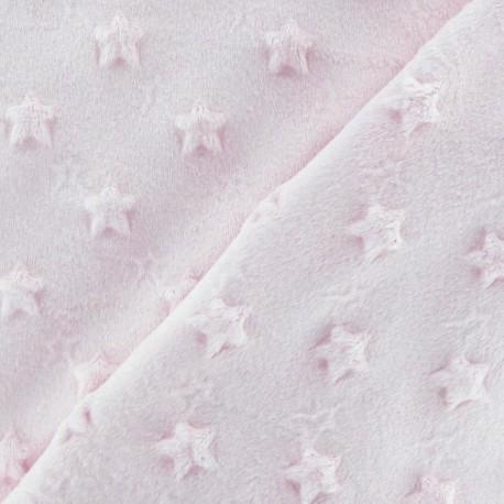 Tissu velours minkee doux relief à étoiles rose dragé x 10cm