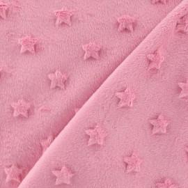 Tissu velours minkee doux relief à étoiles rose x 10cm