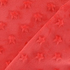 Soft relief minkee velvet Stars fabric - coral x 10cm
