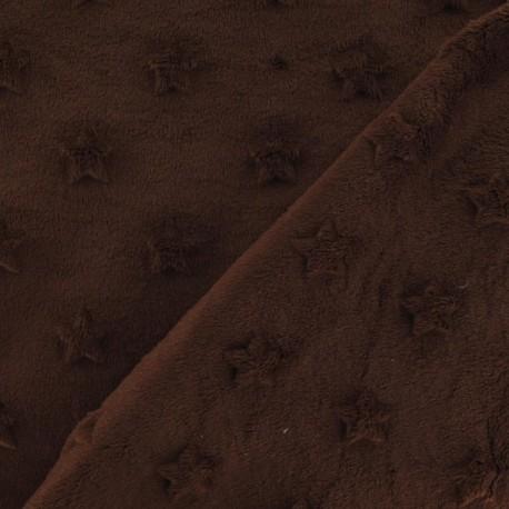 Soft relief minkee velvet Stars fabric - brown x 10cm
