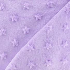 Tissu velours minkee doux relief à étoiles parme x 10cm