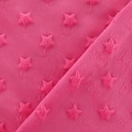 Tissu velours minkee doux relief à étoiles fuchsia x 10cm