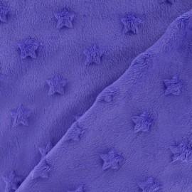 Tissu velours minkee doux relief à étoiles mauve x 10cm