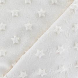 Soft relief minkee velvet Stars fabric - ecru x 10cm