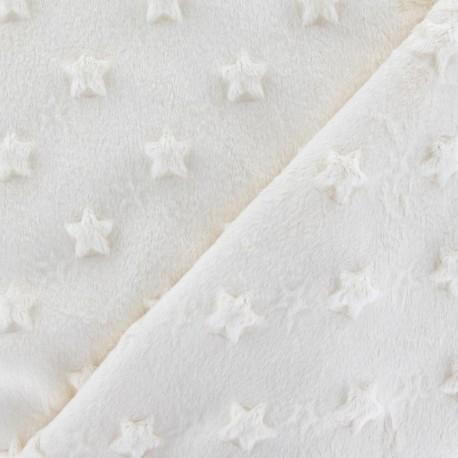 Tissu velours minkee doux relief à étoiles écru x 10cm