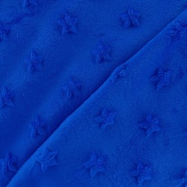 Soft relief minkee velvet Stars fabric - navy blue x 10cm