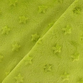 Soft relief minkee velvet Stars fabric - lime x 10cm