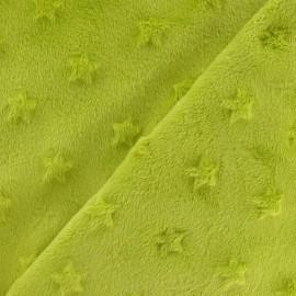 Tissu velours minkee doux relief à étoiles anis x 10cm